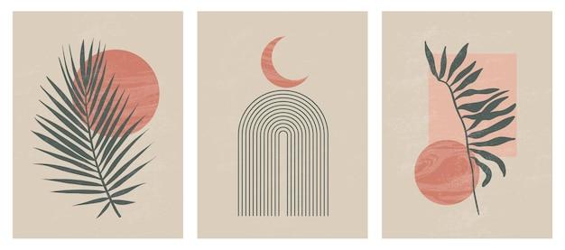 Moderner minimalistischer druck aus der mitte des jahrhunderts mit zeitgenössischen geometrischen mondphasen