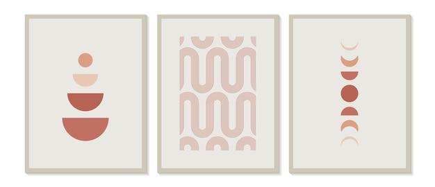 Moderner minimalistischer druck der mitte des jahrhunderts mit zeitgenössischen geometrischen mondphasen Premium Vektoren