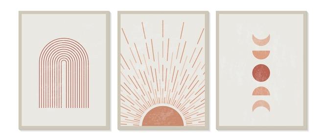 Moderner minimalistischer druck der mitte des jahrhunderts mit zeitgenössischer geometrie