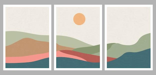 Moderner minimalistischer kunstdruck der mitte des jahrhunderts. abstrakte zeitgenössische ästhetische hintergrundlandschaft mit wald und bergen.
