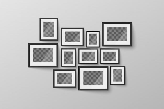 Moderner minimalistischer schwarzer leerer bilderrahmen mit transparentem platz für foto auf grauer wand
