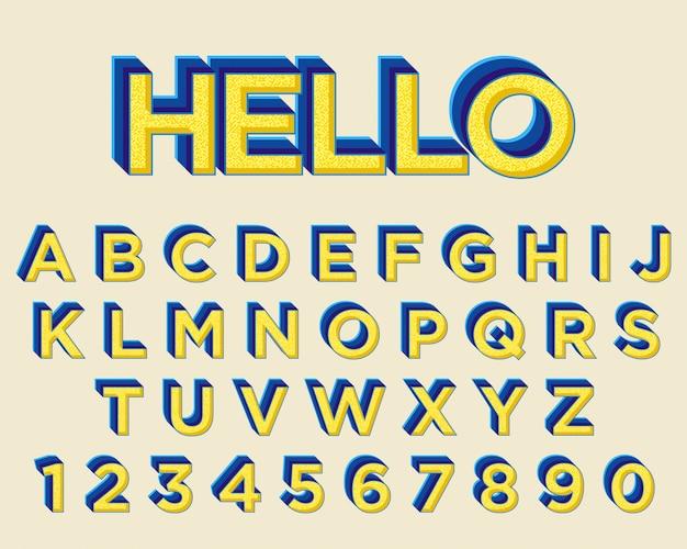 Moderner mutiger gelber blauer typografiedesignschrifttyp