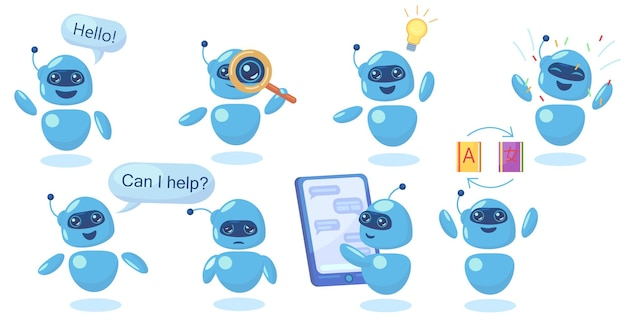 Moderner niedlicher chatbot in verschiedenen posen flach eingestellt Kostenlosen Vektoren
