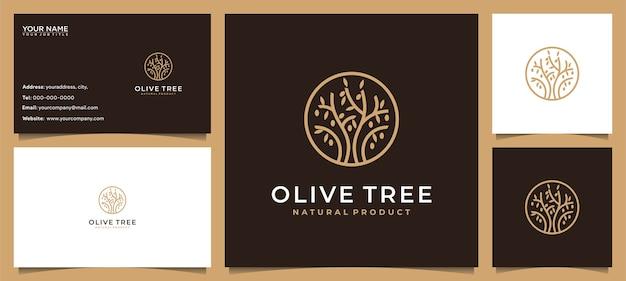 Moderner olivenbaum, olivenöl-logo-design und visitenkarte