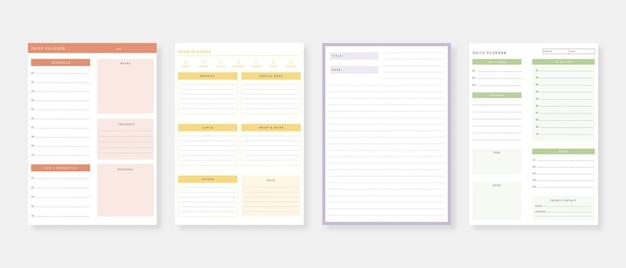 Moderner planer-vorlagensatz satz von planern und aufgabenliste monatliche wöchentliche tagesplaner-vorlage vektor-illustration