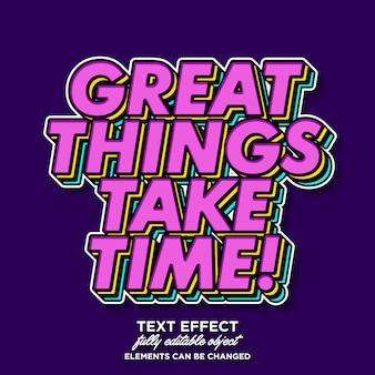 Moderner pop-arten-texteffekt mit farbschicht für retro- fahne und plakat