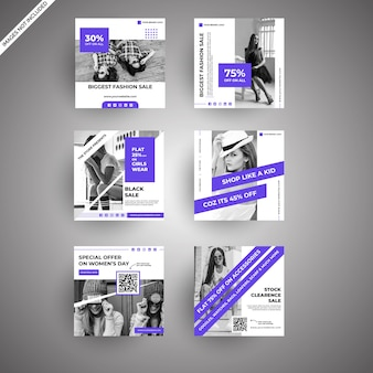 Moderner purpurroter mode-verkaufs-social media-posten