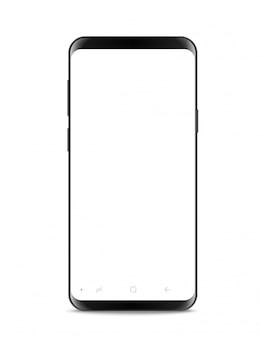 Moderner rahmenloser smartphone lokalisiert. geschichtet