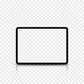 Moderner realistischer schwarzer tablet-computer mit transparentem bildschirm.
