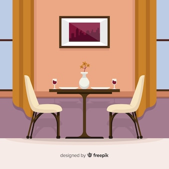 Moderner restaurantinnenraum mit flachem design