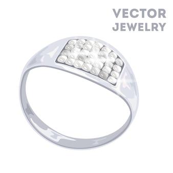 Moderner ring aus platin oder weißgold