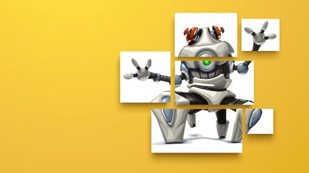 Moderner roboter auf geschnittenen brettern