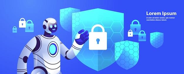 Moderner roboter-cyborg mit schutzschild cybersicherheit datenschutz künstliche intelligenz technologie