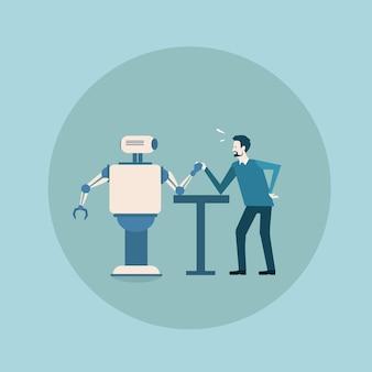 Moderner roboter, der armdrücken mit mann-konzept-futuristischer künstlicher intelligenz-mechanismus-technologie spielt