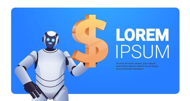 Moderner roboter, der dollar-symbol hält, geld spart und gewinn mit hohem einkommen erzielt, das finanzielles wachstum künstliche intelligenz verdient