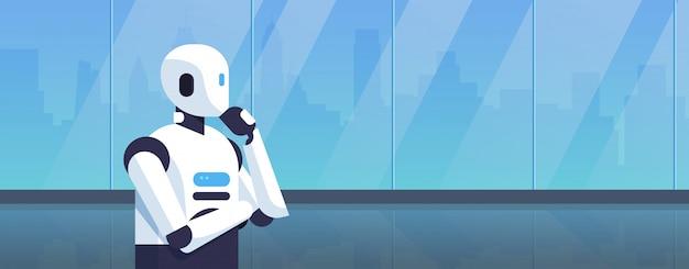 Moderner roboter, der durch ein fenster denkt