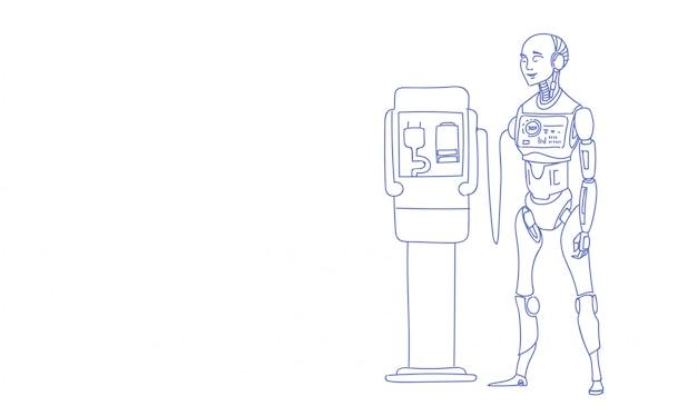 Moderner roboter, der futuristisches technologie-skizzengekritzel der künstlichen intelligenz der batterie auflädt