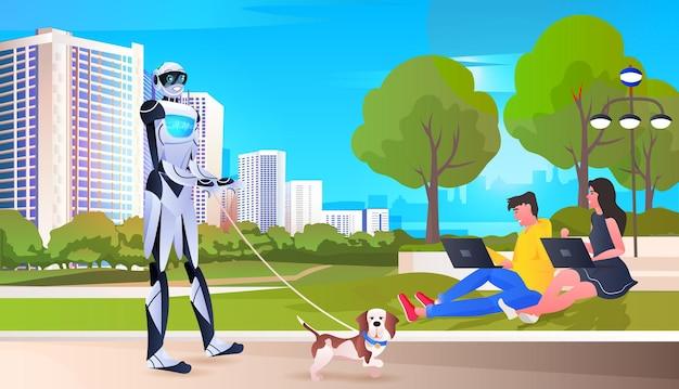 Moderner roboter, der mit dem konzept des öffentlichen parks im stadtbild des hundes mit künstlicher intelligenz geht