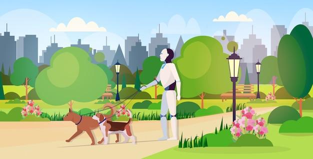Moderner roboter, der mit hunden geht