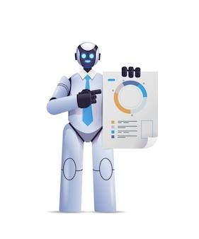 Moderner roboter, der statistikdiagramme analysiert, die finanzdaten analysieren, die technologie der künstlichen intelligenz analysieren