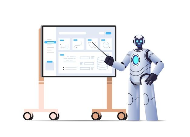 Moderner roboter, der statistiken finanzdaten analysiert robotercharakter, der eine präsentation über die technologie der künstlichen intelligenz von bord macht