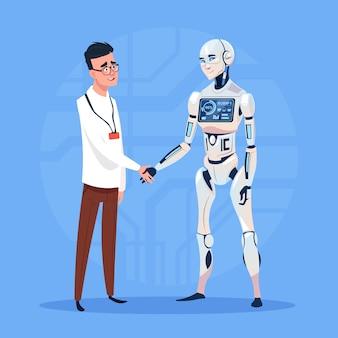Moderner roboter-händedruck mit mann