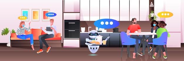 Moderner roboter-kellner, der geschäftsleuten im bürokonzept der künstlichen intelligenz essen serviert