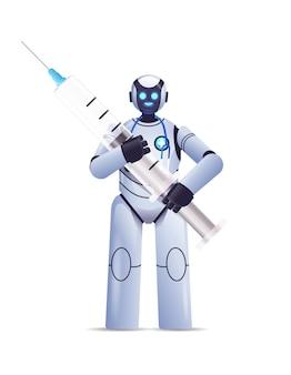 Moderner roboterarzt mit spritze impfung medizin gesundheitswesen künstliche intelligenz