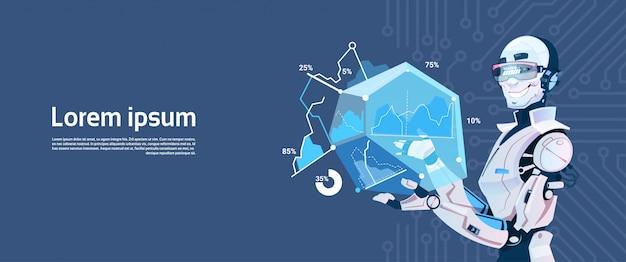 Moderner robotergriff, der grafisches diagramm lädt, futuristische künstliche intelligenz-mechanismus-technologie