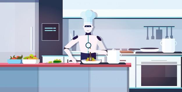 Moderner roboterkoch, der teller kocht roboterkoch, der kulinarisches konzept des kulinarischen konzepts des modernen kücheninnenraums der künstlichen intelligenz der lebensmittelzubereitung vorbereitet