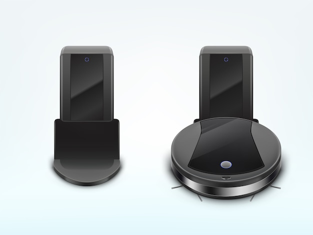 Moderner roboterstaubsauger, der batterie auflädt