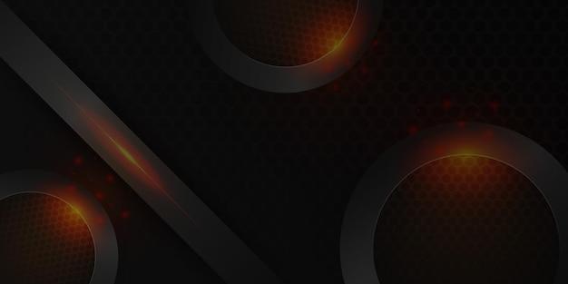 Moderner roter metallischer abstrakter 3d-hintergrund mit dynamischen überlappungsschichten und lichtdekoration