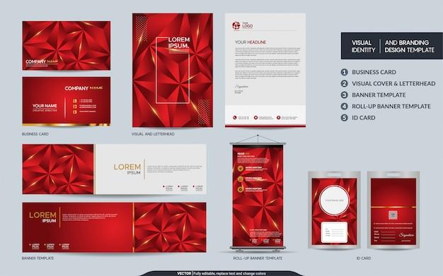 Moderner roter polygonaler briefpapierspott herauf satz und sichtmarkenidentität mit abstrakten deckungsschichten