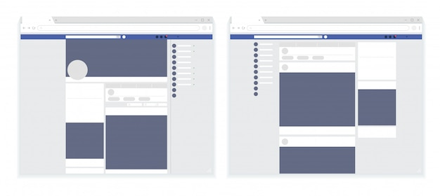 Moderner satz der webseite des sozialen netzes, beitragsrahmenschablone, facebook-webseite