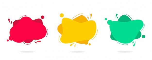 Moderner satz des abstrakten fahnenvektors. flache geometrische flüssige farbe