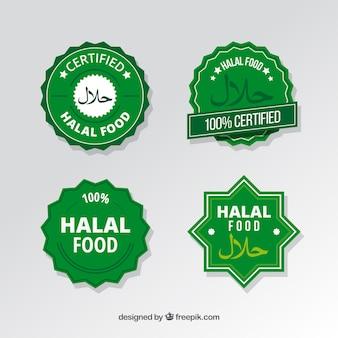 Moderner satz halal-lebensmitteletiketten mit flachem design
