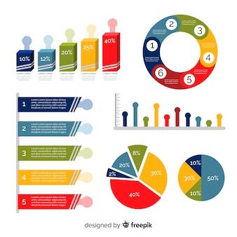 Moderner satz infographics elemente mit flachem design