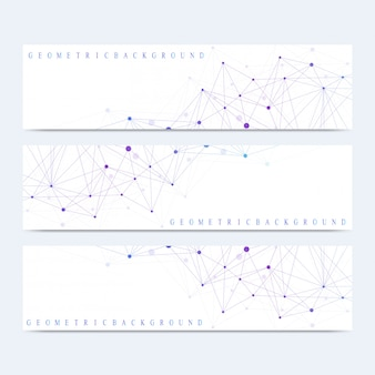 Moderner satz von bannern. geometrische abstrakte darstellung. molekül-dna und kommunikationshintergrund für medizin, wissenschaft, technologie, chemie. kybernetische punkte. linien plexus.