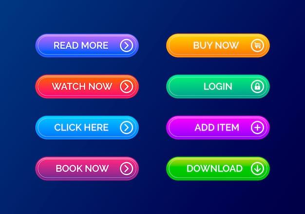 Moderner satz von knöpfen für webdesign. satz von website-schaltflächen