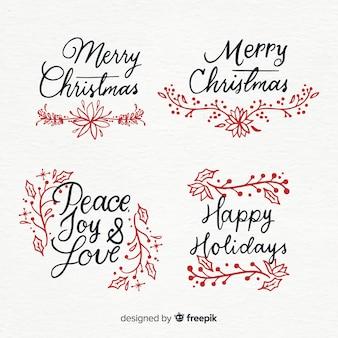 Moderner satz weihnachtsaufkleber mit ursprünglicher kalligraphie