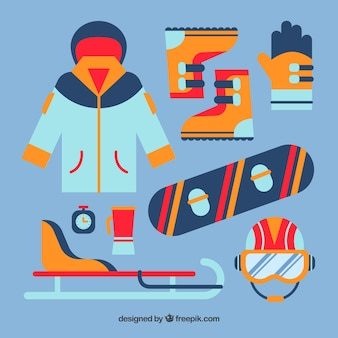 Moderner satz wintersportelemente