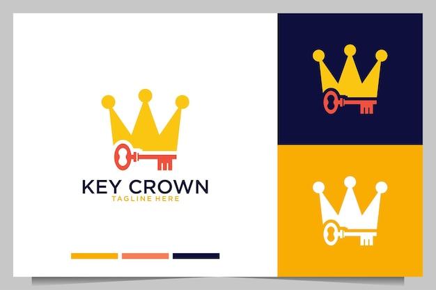 Moderner schlüssel mit kronenlogo-design