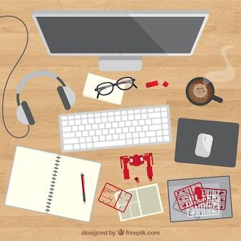 Moderner schreibtisch mit computer