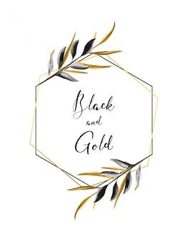 Moderner schwarz-gold-rahmen