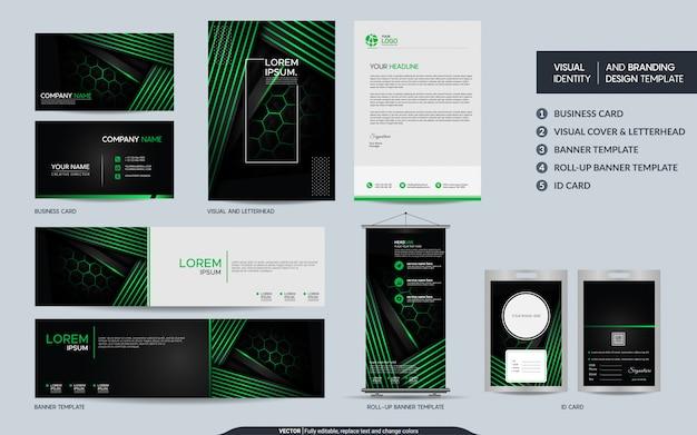 Moderner schwarz-grüner briefpapiersatz und visuelle markenidentität