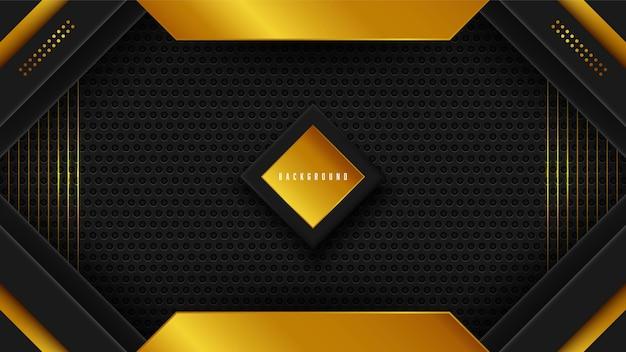 Moderner schwarzer abstrakter hintergrund mit goldenen formen