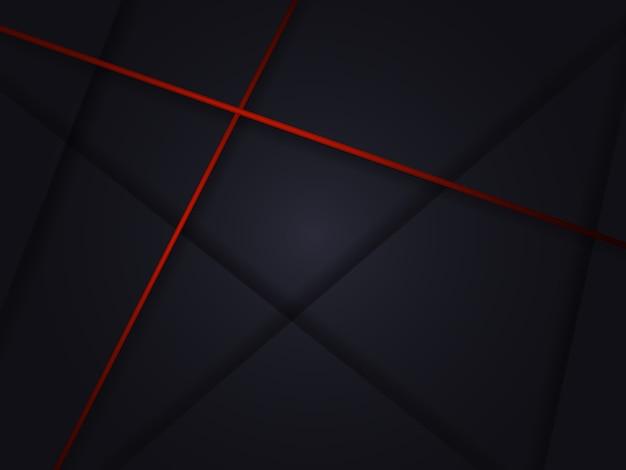 Moderner schwarzer abstrakter luxushintergrund mit schatten und roten linien.