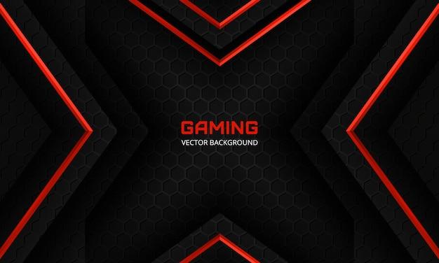 Moderner schwarzer gaming-hintergrund mit roten pfeilen, sechseckigem kohlefasergitter und schwarzen dreiecken