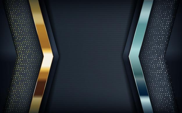 Moderner schwarzer hintergrund mit goldenem und silber