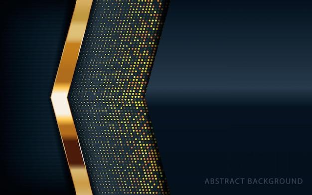Moderner schwarzer hintergrund mit goldener dekoration